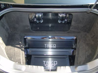 Suede-lined trunk with amplifier covers removed