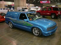 Jason's S-10 Minitruck with custom phantom grill and graphics